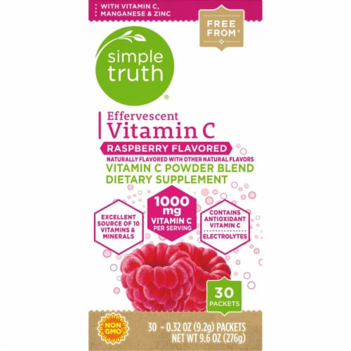 Simple Truth™ Raspberry Flavored Effervescent Vitamin C Powder Blend Packets Perspective: bottom