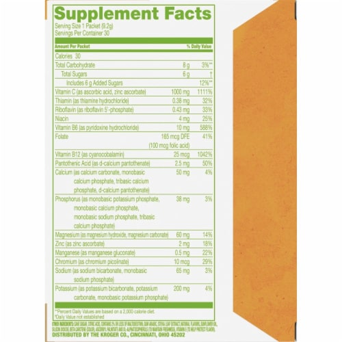 Simple Truth™ Effervescent Vitamin C Orange Flavored Powder Blend Packets Perspective: bottom