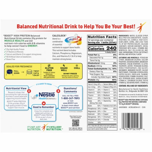 Boost High Protein Rich Chocolate Nutritional Drinks Perspective: bottom