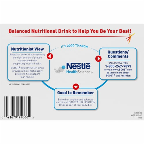 Boost High Protein Rich Chocolate Balanced Nutritional Drink Perspective: bottom