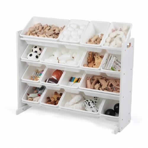 Humble Crew Cambridge Toy Storage Organizer with Storage Bins - White Perspective: bottom