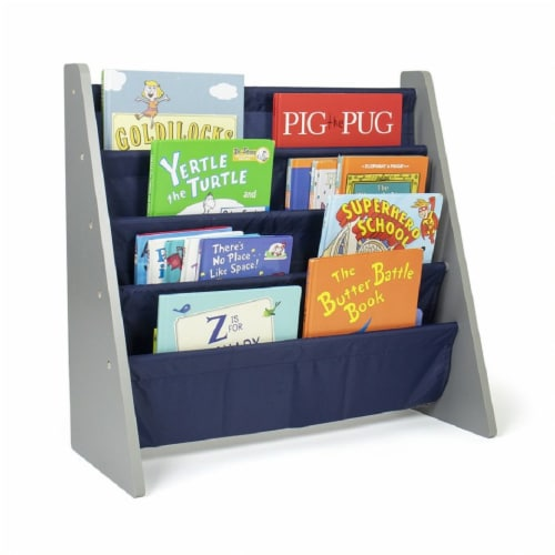 Humble Crew Newport Kids Bookshelf 4 Tier Book Organizer - Navy Perspective: bottom
