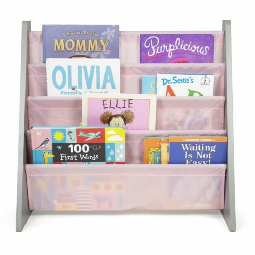 Humble Crew Kids Sophie Bookshelf 4 Tier Book Organizer - Pink Perspective: bottom