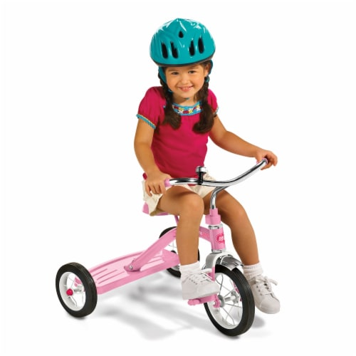 Radio Flyer 34GX Kids Classic Steel Framed Tricycle with Handlebar Bell, Pink Perspective: bottom