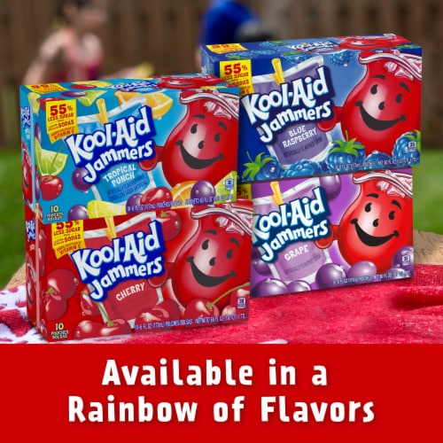 Kool-Aid Jammers Cherry Flavored Drink Pouches Perspective: bottom