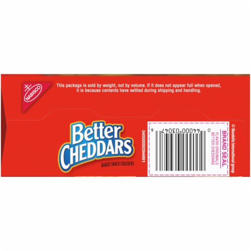 Nabisco Better Cheddars Baked Cheese Snack Crackers Perspective: bottom