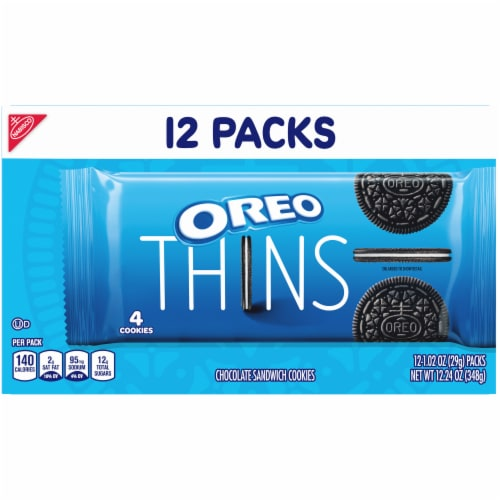 Oreo Thins Choclate Sandwich Cookies Perspective: bottom