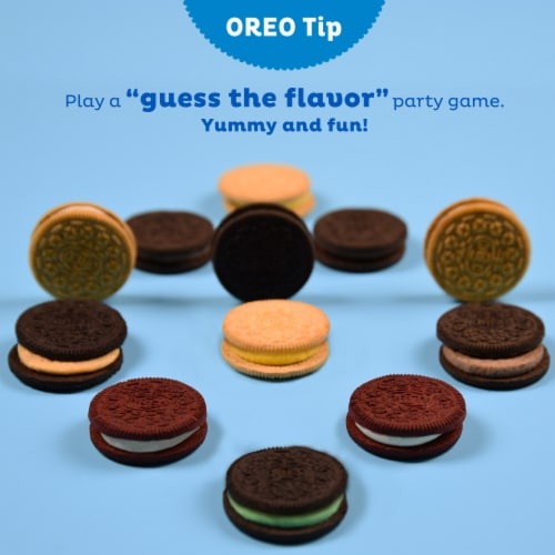 Oreo Birthday Cake Flavored Creme Chocolate Sandwich Cookies Family Size Perspective: bottom