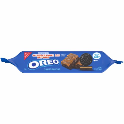 Oreo Limited Edition Salted Caramel Brownie Chocolate Sandwich Cookies Perspective: bottom