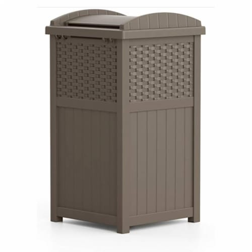 Suncast Wicker Resin Outdoor Hideaway Trash Can with Latching Lid, Dark Taupe Perspective: bottom