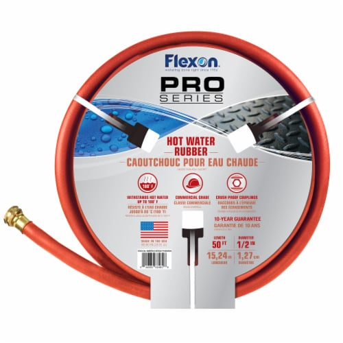 Flexon 1/2 x 50ft Red Hot Water Rubber Garden Hose Perspective: bottom