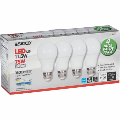 Satco 75W Equivalent Natural Light A19 Medium LED Light Bulb (4-Pack) S28770 Perspective: bottom