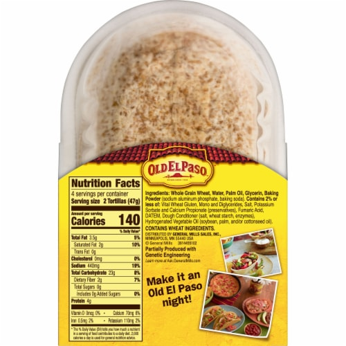 Old El Paso Whole Wheat Soft Tortilla Taco Bowls 8 Count Perspective: bottom