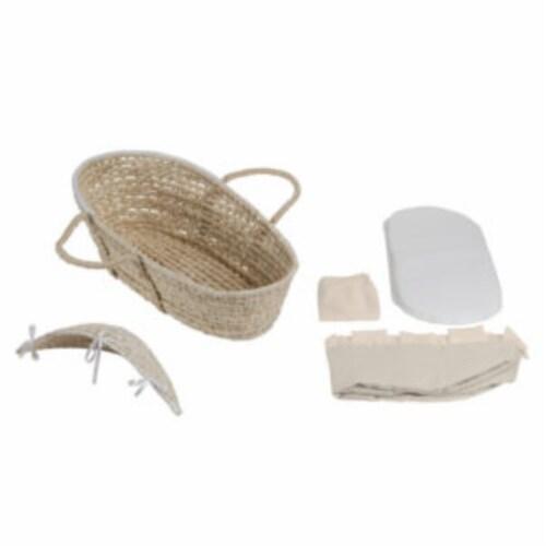 NATURAL Hooded Moses Basket - Ecru/Beige Gingham Bedding Perspective: bottom