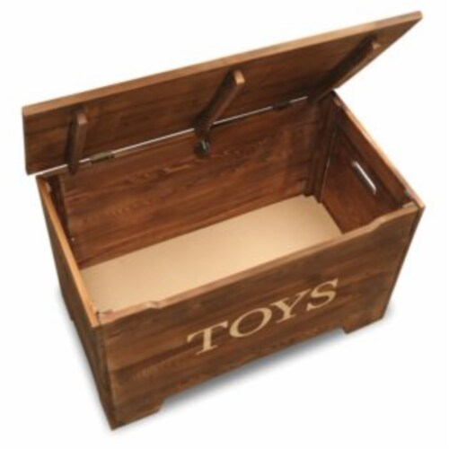 Solid Wood Rustic Toy Box - Caramel Brown Perspective: bottom