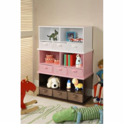 Shelf Storage Cubby w/Three Baskets - Espresso Perspective: bottom
