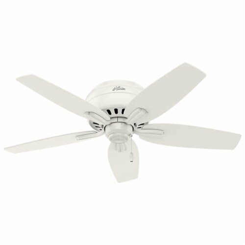 """Hunter Newsome 42"""" Low Profile Ceiling Fan w/ LED Light and Pull Chain, White Perspective: bottom"""
