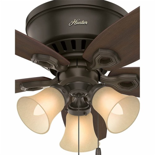 """Hunter Builder 42"""" Low Profile Ceiling Fan w/ LED Lights and Pull Chain, Bronze Perspective: bottom"""