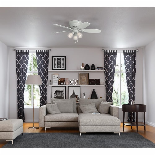 """Hunter Hatherton 46"""" Low Profile Ceiling Fan w/ LED Lights and Pull Chain, White Perspective: bottom"""