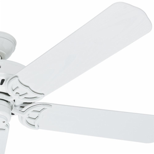 """Hunter Bridgeport 52"""" Outdoor Damp-Rated Home Ceiling Fan w/ Pull Chain, White Perspective: bottom"""