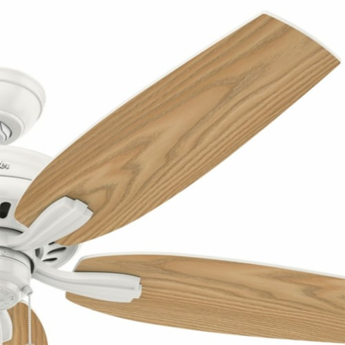 """Hunter Newsome 52"""" Indoor/Outdoor Home Ceiling Fan with Pull Chain, Fresh White Perspective: bottom"""