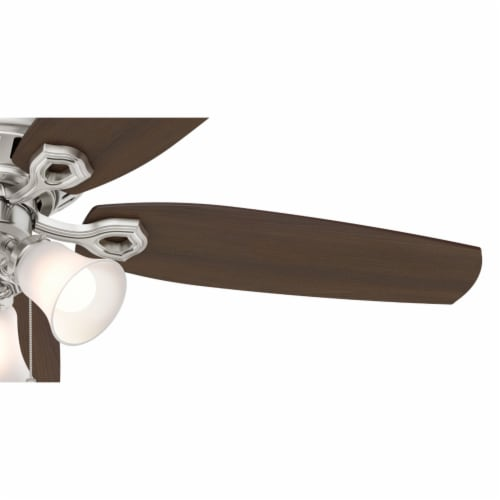 """Hunter Builder 52"""" Low Profile Ceiling Fan with 3 LED Lights, Brushed Nickel Perspective: bottom"""