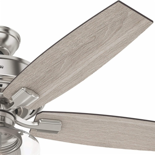 """Hunter Bennett 52"""" Quiet Ceiling Fan with LED Light and Remote Control, Silver Perspective: bottom"""