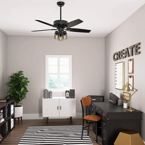 """Hunter Bennett 52"""" Ceiling Fan with LED Lights and Remote Control, Matte Black Perspective: bottom"""