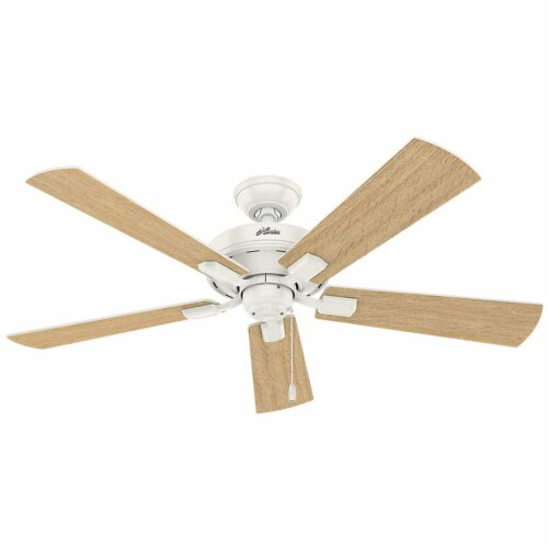 """Hunter Crestfield 52"""" Quiet Ceiling Fan with 3 LED Lights and Pull Chain, White Perspective: bottom"""