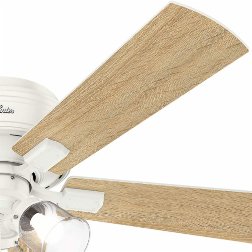 """Hunter Crestfield 52"""" Low Profile Ceiling Fan w/ LED Light and Pull Chain, White Perspective: bottom"""