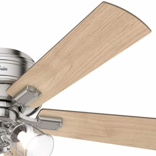 "Hunter Crestfield 52"" Quiet Indoor Ceiling Fan w/ LED Lights , Brushed Nickel Perspective: bottom"