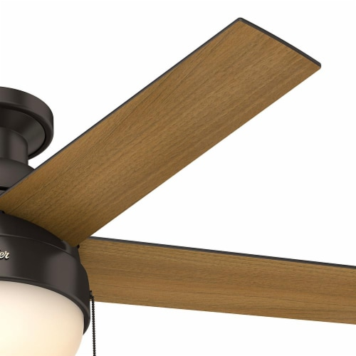 """Hunter Low Profile Anslee 46"""" Home Ceiling Fan with LED Light and Pull Chains Perspective: bottom"""