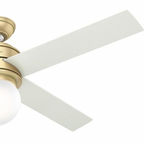 """Hunter Hepburn 52"""" Indoor Ceiling Fan with LED Lights with Switch, Modern Brass Perspective: bottom"""