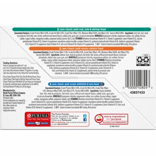 Fancy Feast Seafood Classic Pate Wet Cat Food Variety Pack Perspective: bottom