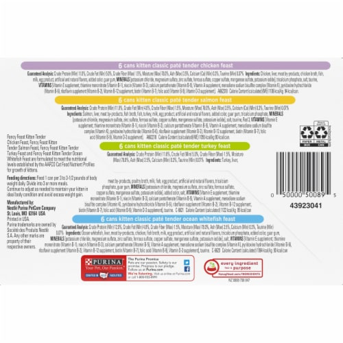 Fancy Feast Classic Pate Collection Wet Kitten Food Variety Pack Perspective: bottom