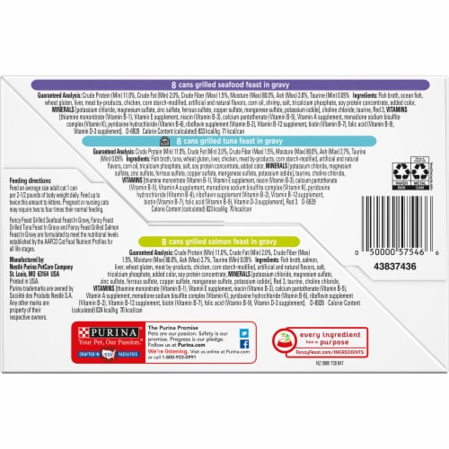 Purina Fancy Feast Seafood Grilled Collection Wet Cat Food Variety Pack Perspective: bottom