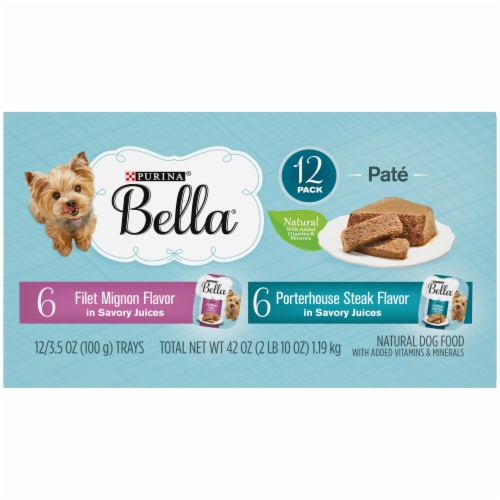 Bella Filet Mignon & Porterhouse Steak Pate in Juices Small Breed Wet Adult Dog Food Variety Pack Perspective: bottom