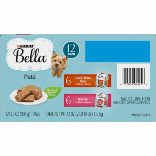 Bella Grilled Chicken & Beef in Juices Pate Small Breed Wet Dog Food Variety Pack Perspective: bottom