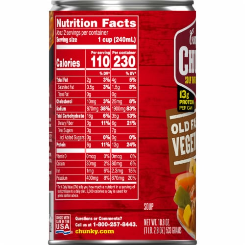 Campbell's® Chunky® Old Fashioned Vegetable Beef Soup Perspective: bottom