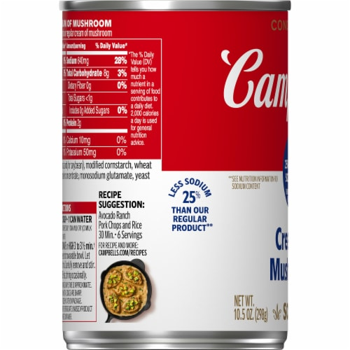 Campbell's 25% Less Sodium Cream of Mushroom Condensed Soup Perspective: bottom