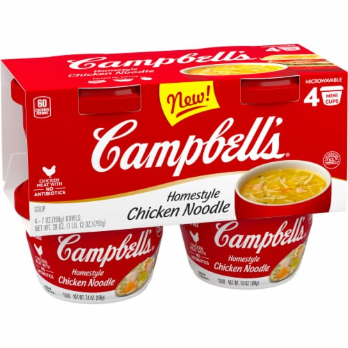 Campbell's Microwaveable Cups Homestyle Chicken Noodle Soup Perspective: bottom