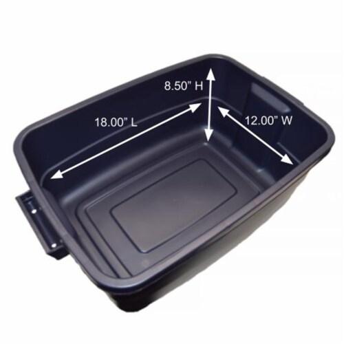 Rubbermaid 10 Gallon Stackable Storage Container, Dark Indigo Metallic (8 Pack) Perspective: bottom