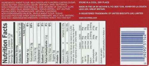 Mcvitie's Milk Chocolate Digestive Wheat Biscuits Perspective: bottom