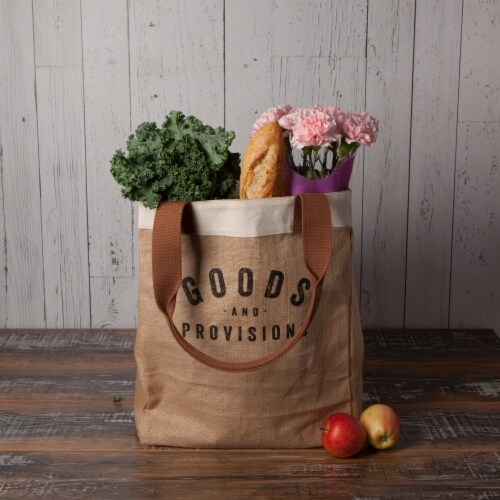 Now Designs Market Tote Jute Grocery Bag Goods and Provisions 13.5x17x8.5 inch Perspective: bottom