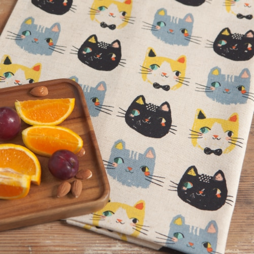 Danica Studio Coordinated Prints Meow Meow Cotton Linen Dish Towels Perspective: bottom