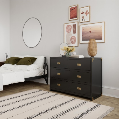 Baby Relax Miles 6-Drawer Dresser, Black Wood Perspective: bottom