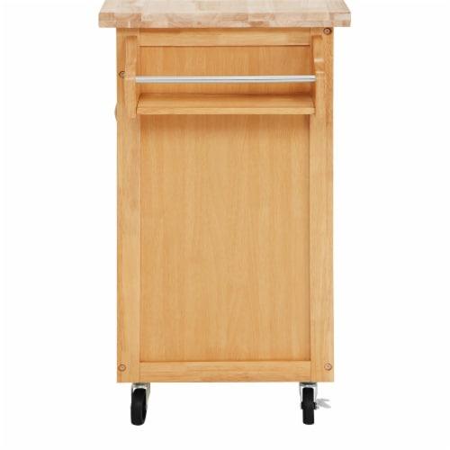 Dorel Living Wood Top Kitchen Cart in Natural Perspective: bottom