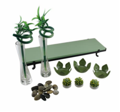 3 Lotus Flower Tealight Holder 2 Lucky Bamboo Candle Garden Set Perspective: bottom