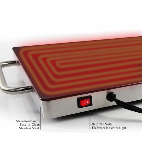 """NutriChef Portable 16.5 x 11"""" Electric Food Warmer Platter Tray Buffet Hot Plate Perspective: bottom"""
