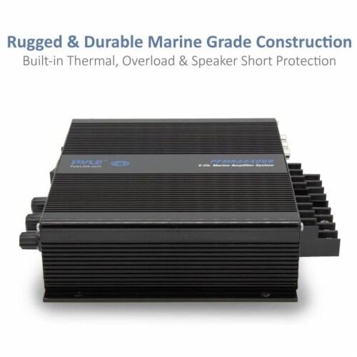 Pyle 6 Channel 600 Watt Marine Amp Amplifier Bluetooth Receiver Sound System Perspective: bottom